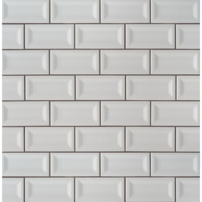 Domino Gray 3X6 Inverted Beveled Glossy Subway Tile
