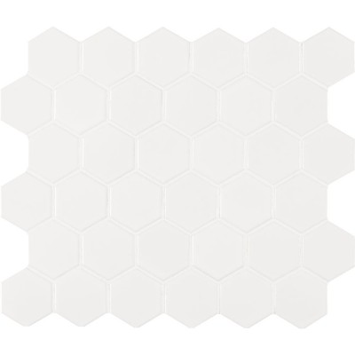 White Glossy 2X2 Hexagon Matte Mosaic