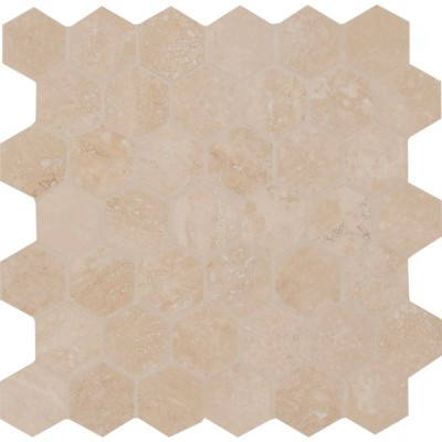 Durango Hexagon 2x2 Honed And Filled Travertine Mosaic