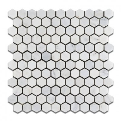 Oriental White 1x1 Hexagon Polished Mosiac
