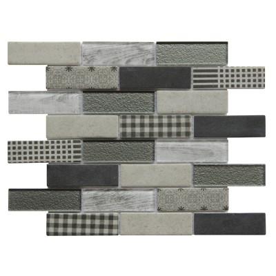 French Gingham 10X12 Brick Pattern Glass Mosaic