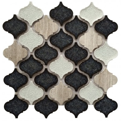 Galena Grey Lantern 12X12 Blend Arabesque Mosaic