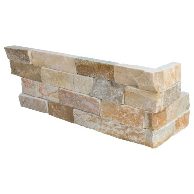 Golden White 6x12x6 Split Face Corner Ledger Panel