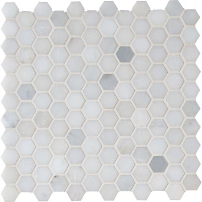 Greecian White 1x1 Hexagon Polished Mosaic
