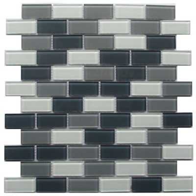 Grey Blend Brick 1x2 Glass Mosaic