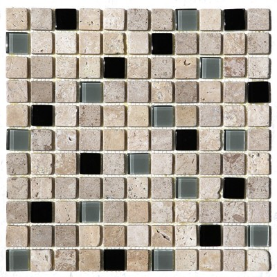 Cafe Noce 1x1 Glass Stone Blend Mosaic