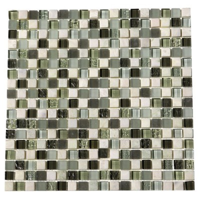 Glacier Green 5/8 x 5/8 Glass Stone Blend Mosaic