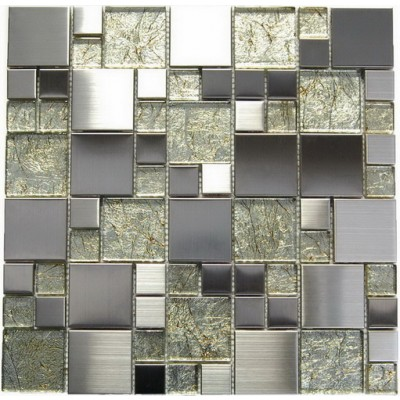 Stainless Steel + Golden Glass Mix Mosaic
