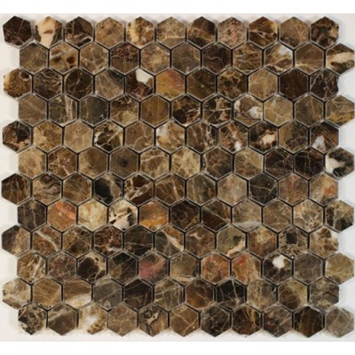 Emperador Dark 1x1 Hexagon Polished Marble Mosaic