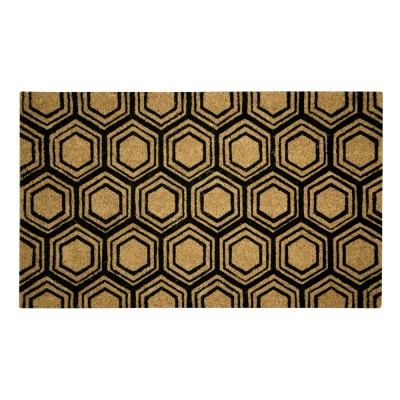 Hexagon Black Natural Coir 18X30 Door Mat