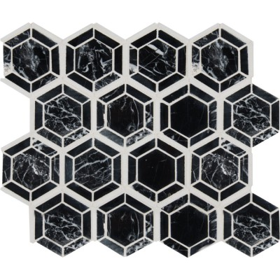 Hexagono Nero Pattern Polished Marble Mosaic