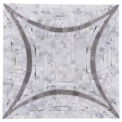 Oriental White Flora Pattern Marble Mosaic