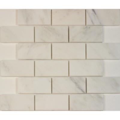 Carrara White 2x4 Brick Honed Mosaic