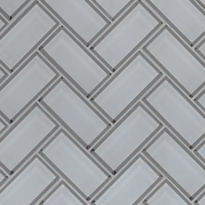 Ice Bevel White 2x4x8 Herringbone Mosaic Tile