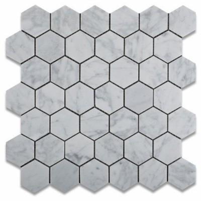 Carrara White 2X2 Hexagon Polished Marble Mosaic