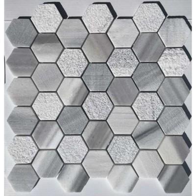 Marmara White 2X2 Hexagon Interlocking Multi Finish Mosaic Tile