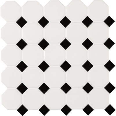 White And Black Octagon Matte Mosaic