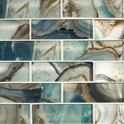 Boathouse Blue Picket Pattern Glass Mosaic