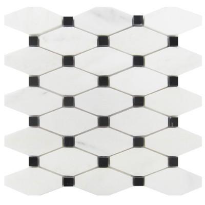 Octave Carrara White With Black Dot Elongated Polished Mosaic