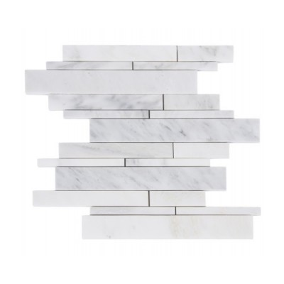 Oriental White 12x12 Random Strip Polished Mosaic