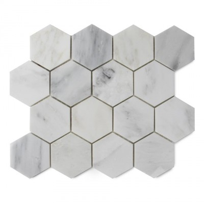 Oriental White 3x3 Polished Hexagon Mosaic