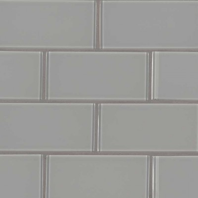 Oyster Gray 3X6 Glass Subway Tile