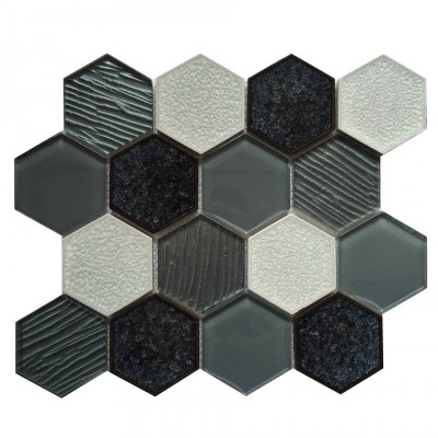 Palladian Grey 3x3 Hexagon Interlocking Mosaic