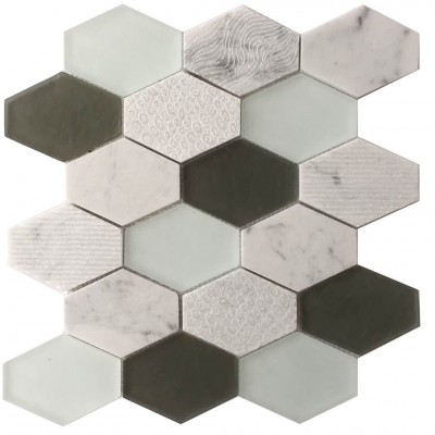 Panache Retro Hexagon White Glass Mosaic