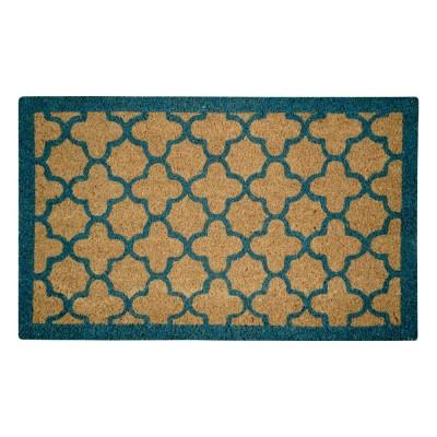 Quatrefoil Blue Natural Coir 22X36 Door Mat