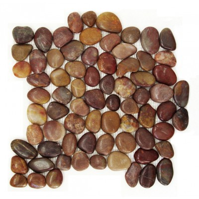 Red Cranberry 12X12 Interlocking Polished Rounded Pebble Tile