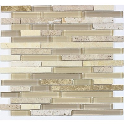 Sandy Dune Glass Mix 12x12 Random Strip Mosaic