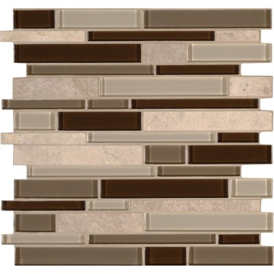 Sienna Interlocking Pattern Glass Stone Mosaic