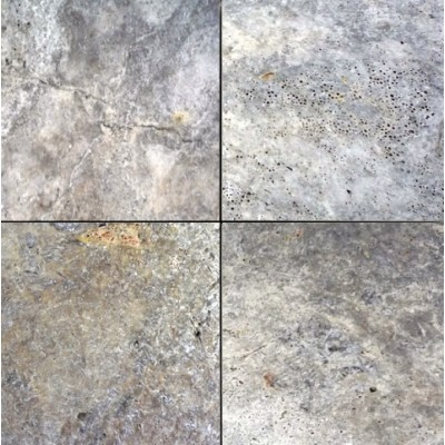 Silver Travertine 16X16 Honed Unfilled Tumbled Paver