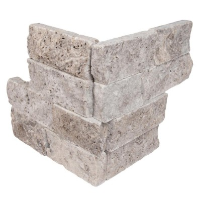 Silver Travertine 4.5x16 Split Face Mini Ledger Panel