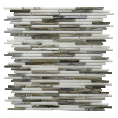 Silver Weave Glass Mix 12x12 Random Strip Mosaic