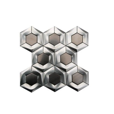 "Stainless Steel 3D Interlocking 4"" Brushed Hexagon Mosaic"
