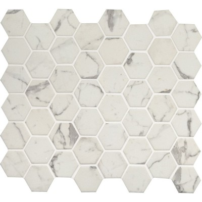 Statuario Celano 2X2 Hexagon Recycled Glass Mosaic