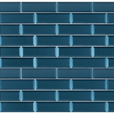Tahiti Blue 2.5x8 Beveled Glass Subway Tile