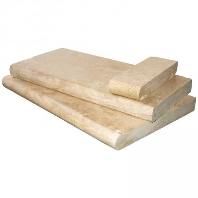 Tuscany Beige 12X24 Honed Unfilled Double Bullnose Pool Coping