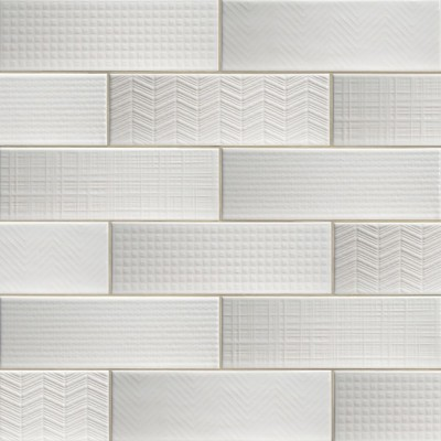 Urbano Pure 3D Mix 4x12 Glossy Ceramic Subway Tile
