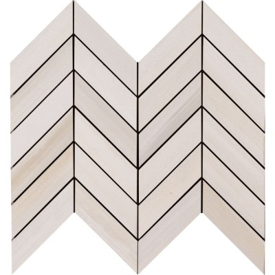 White Quarry Chevron Pattern Mosaic