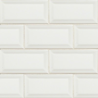 Domino White Glossy 3X6 Beveled Tile