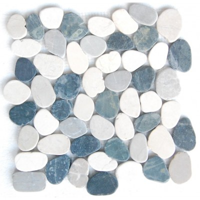 White & Grey Mix Natural 12X12 Interlocking Indonesia Pebble Tile