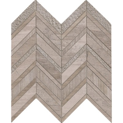 White Quarry Chevron 12x12 Pattern Marble Mosaic