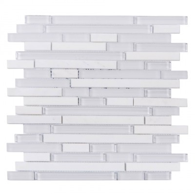 White Staccato Marble & Glass Mix Random Strip Mosaic