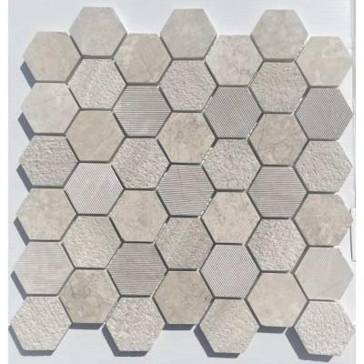 Wooden White 2X2 Hexagon Interlocking Multi Finish Mosaic Tile