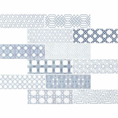 Zouli 2X6 White Honed Encaustic Pattern Subway Tile