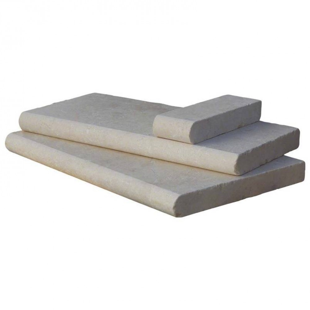 Aegean Aegean Pearl 4x12 Tumbled One Short Side Bullnose Pool Coping4x12 Tumbled One Side Full Bullnose Pool Coping