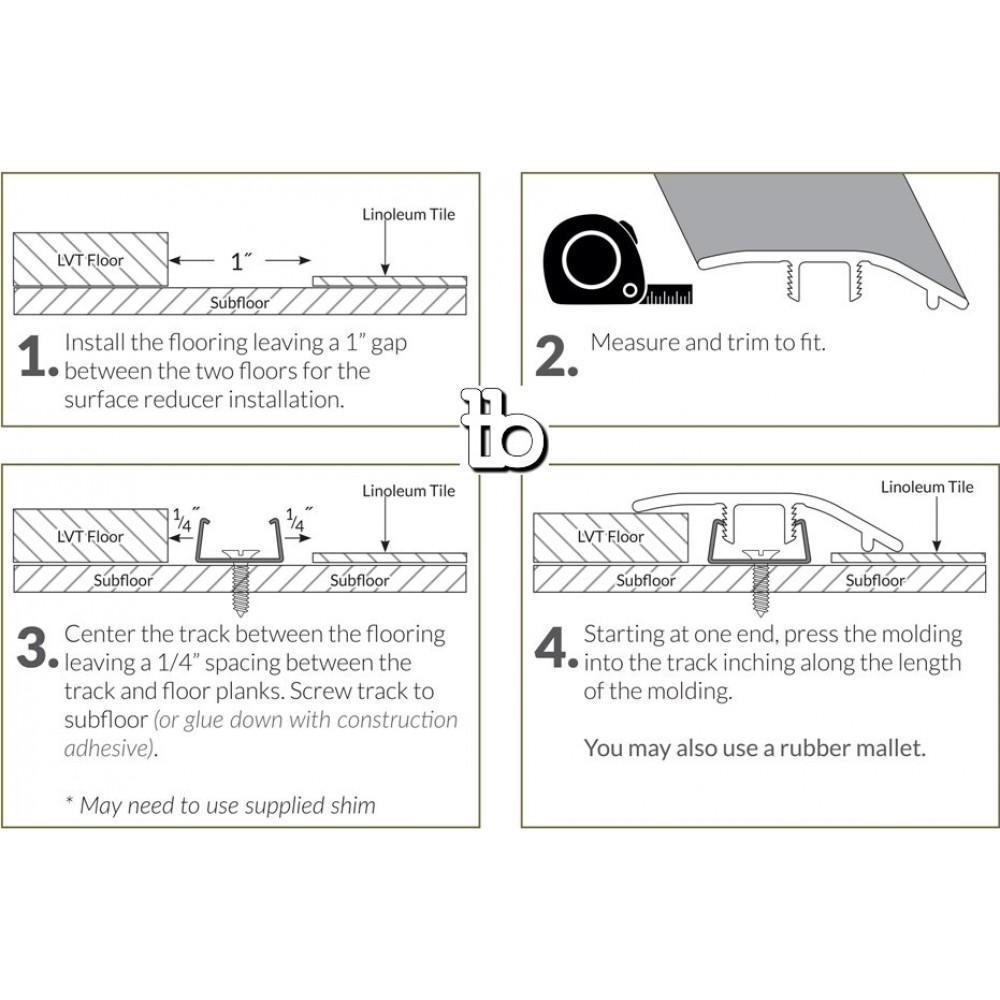 Bleached Elm 1-3/4X94 Vinyl Reducer