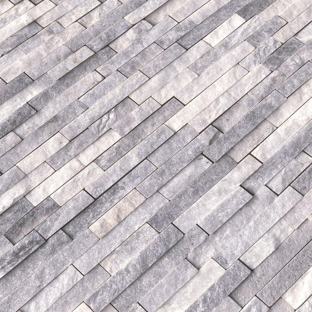 Alaska Gray 12X12 Splitface Interlocking Pattern Mosaic